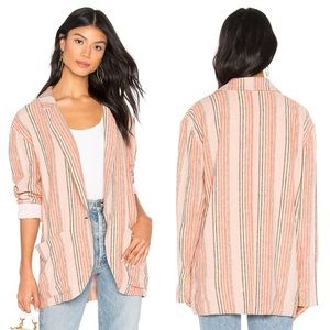 Free People Oversized Simply Striped Blazer Sz M